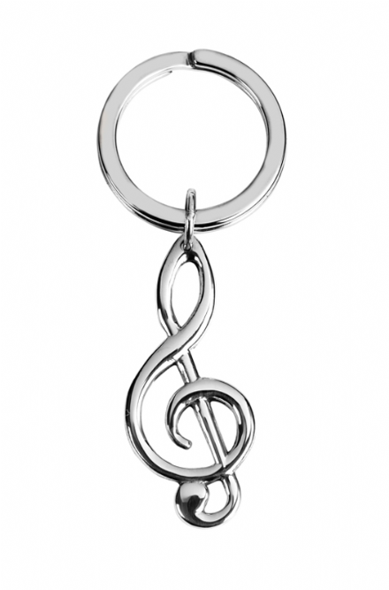 Sterling Silver Hallmarked  Clef Shaped Keyring